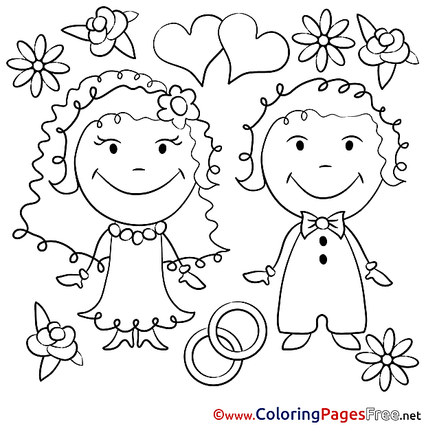 Love Wedding  download Colouring Page for Children