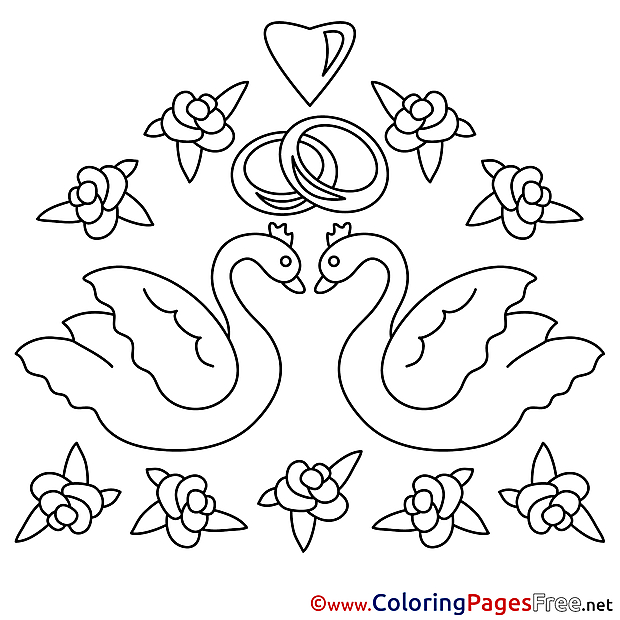 Swans Wedding Flowers Colouring Sheet  download free