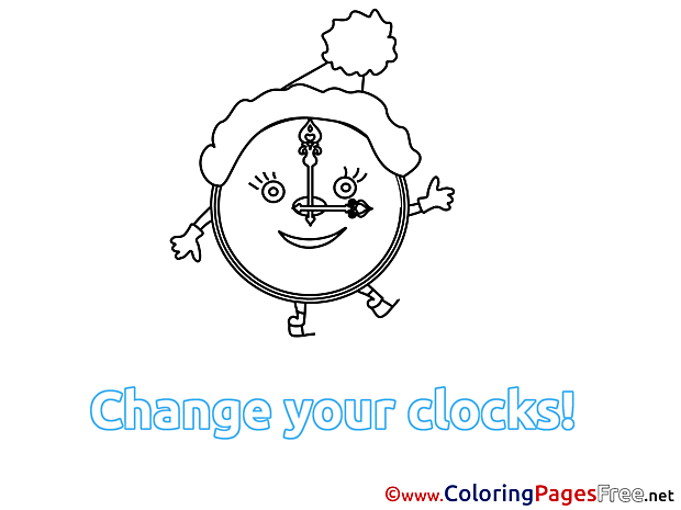 Alarm Clock Winter Coloring Pages free