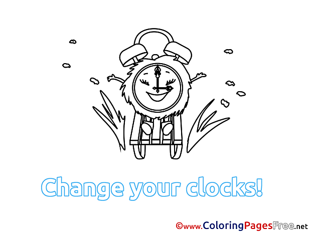 Alarm Clock Winter free Coloring Pages