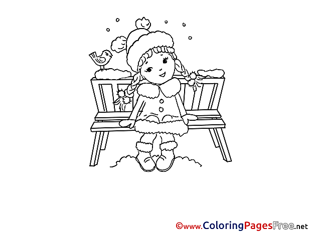 Bench Winter Girl Coloring Page for Kids