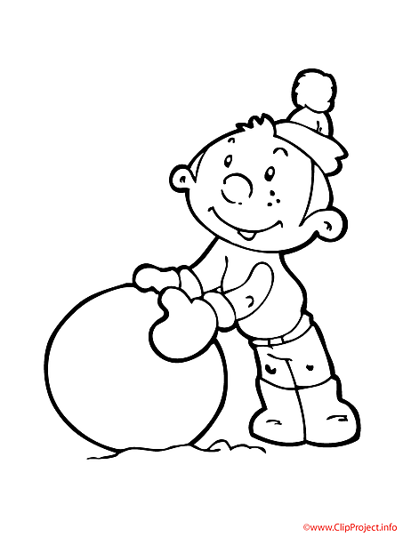 Boy coloring sheet free winter