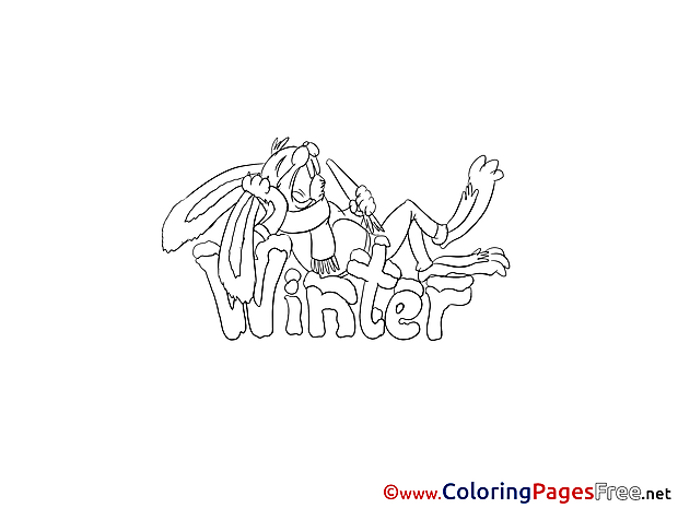 Bunny eats Carrot Winter Coloring Pages free