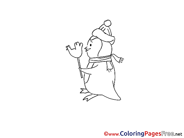 Candy Penguin Winter printable Coloring Pages