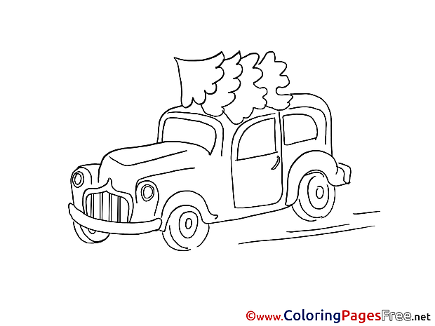Car Winter Colouring Sheet download