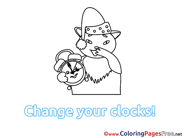 Cat Winter Alarm Clock printable Coloring Sheets