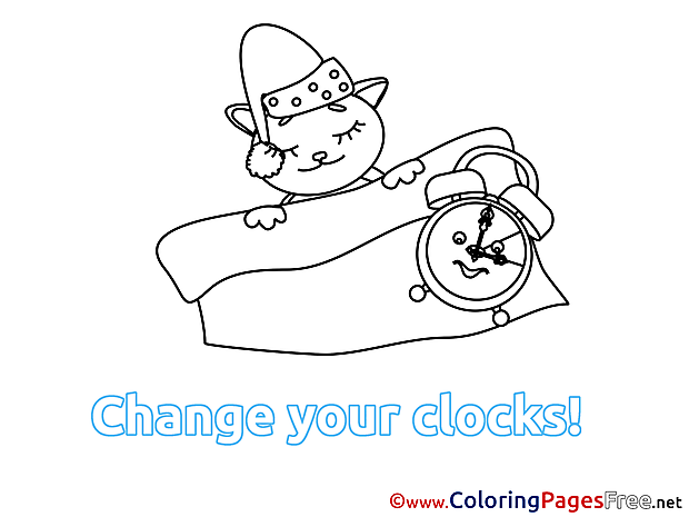 Cat Winter Clock download Coloring Pages