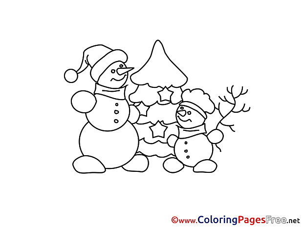 Christmas Tree Snowman Winter Colouring Page  free