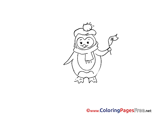 Flag Penguin Winter  free Coloring Sheets