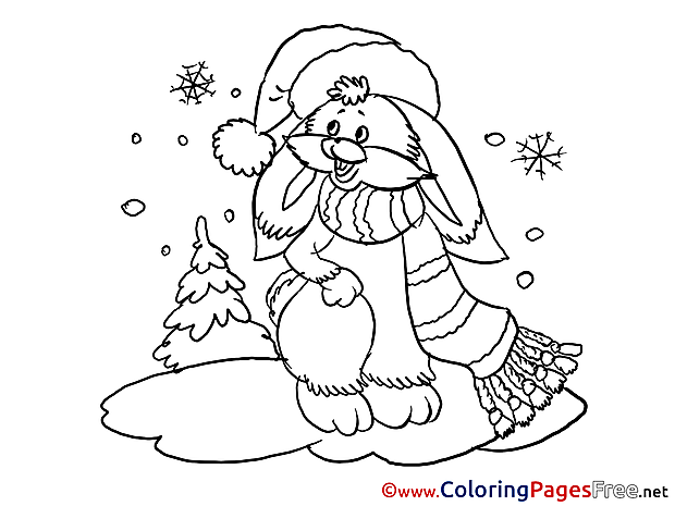 Hare Winter free Colouring Page