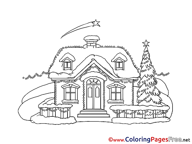 House Winter Colouring Sheet download