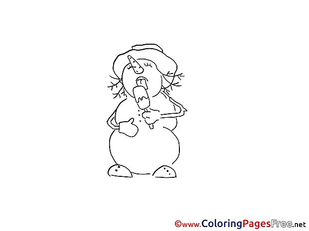 Ice Cream Snowman Winter Colouring Sheet free