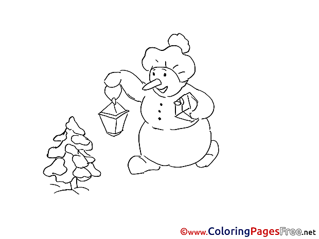 Lantern  Snowman Winter Coloring Pages