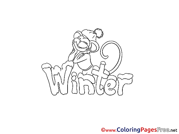 Monkey Winter Coloring Pages