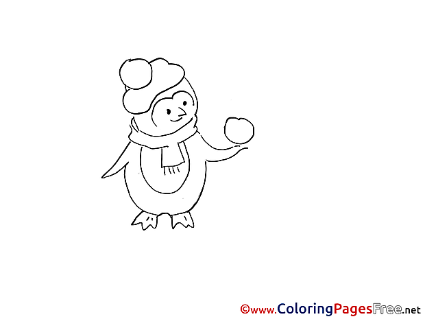 Penguin Winter Coloring Pages download