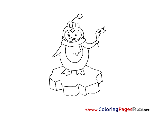 Penguin Winter Colouring Page for Kids