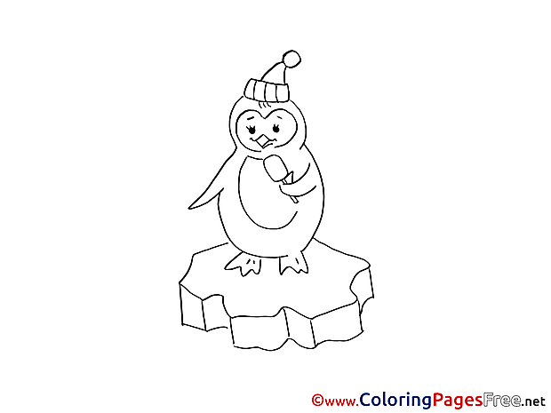 Penguin Winter Colouring Page free