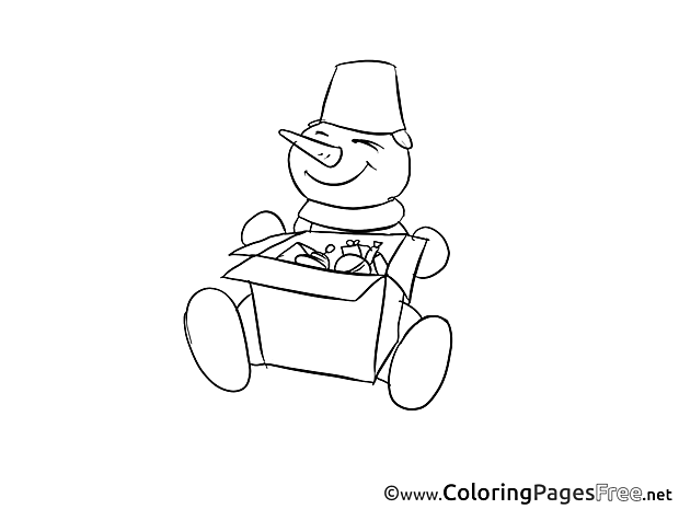 Present Winter Snowman free Coloring Pages