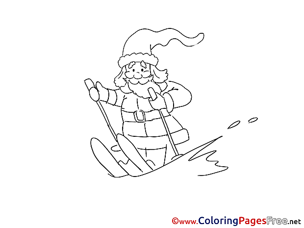 Santa Claus Ski Winter Coloring Pages free