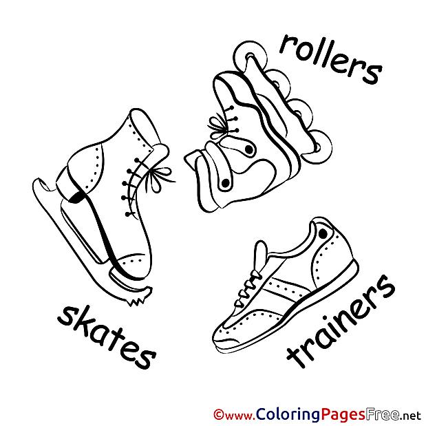 Skates Winter printable Coloring Sheets