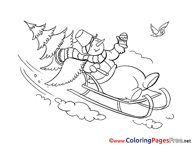 Sleigh Winter Snowman download Coloring Pages