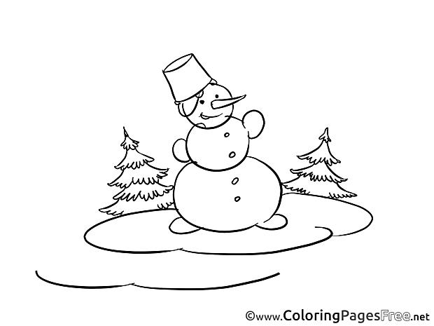 Snow Winter Snowman printable Coloring Sheets