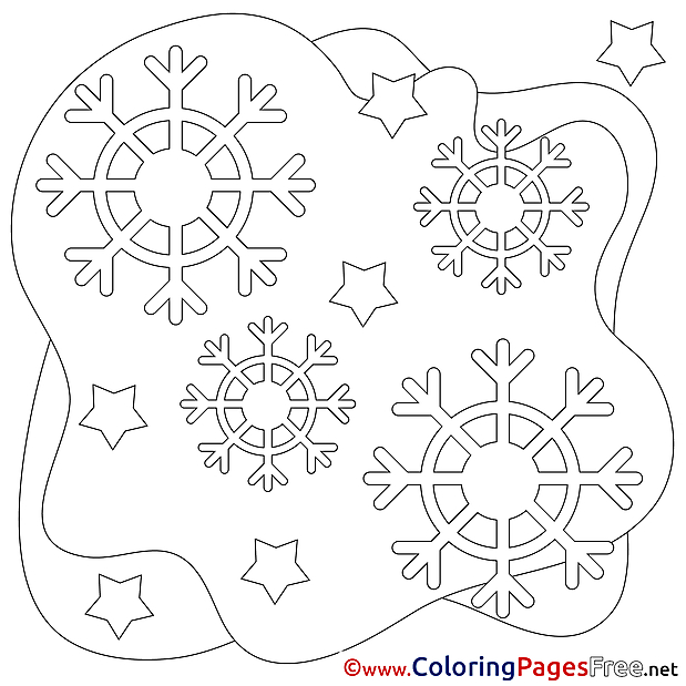 Snowflakes Winter Coloring Pages for Kids