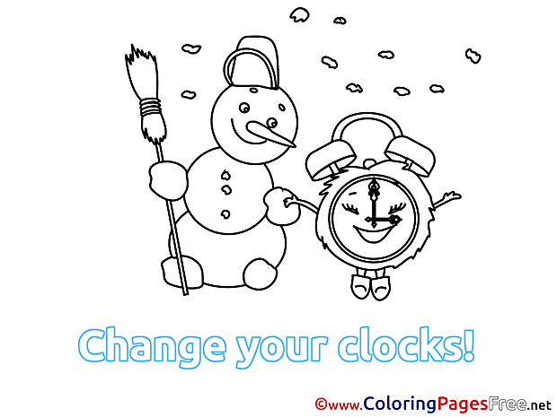 Snowman Winter Clock Coloring Pages