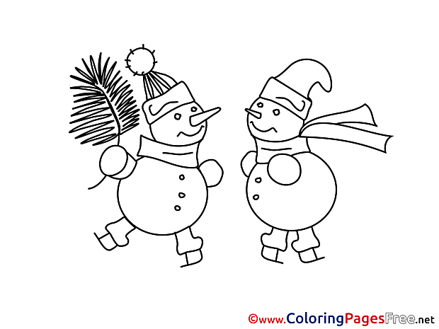 Snowmen Winter Coloring Page for Kids