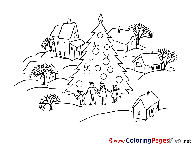 Village Winter free Coloring Sheets