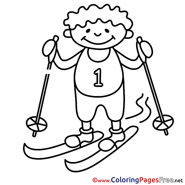 Winter Ski Boy Coloring Pages free