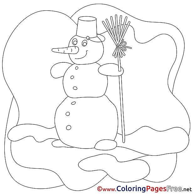 Winter Snowman Colouring Sheet download