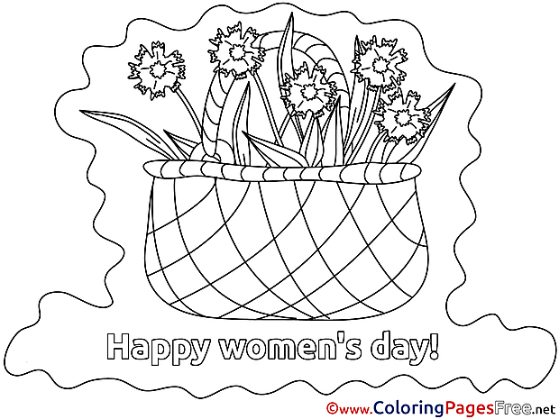 Basket Flowers Women's Day free Coloring Pages