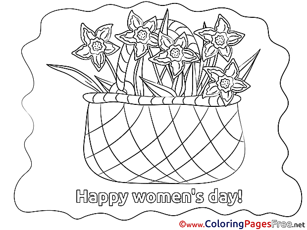 Basket printable Women's Day Flowers Coloring Sheets