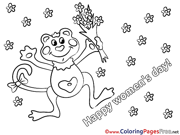 Bouquet printable Coloring Pages Women's Day