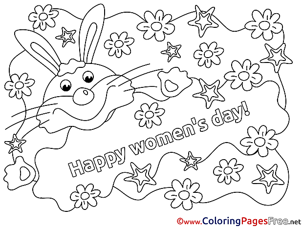Rabbit free Women's Day Flowers Coloring Sheets