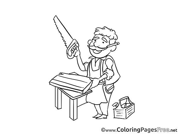 Carpenter Children download Colouring Page