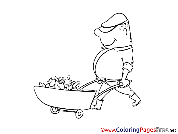 Carriage Gardener free Colouring Page download