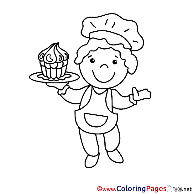 Chef for Kids printable Colouring Page