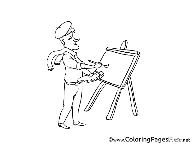 Colouring Page printable free Painter
