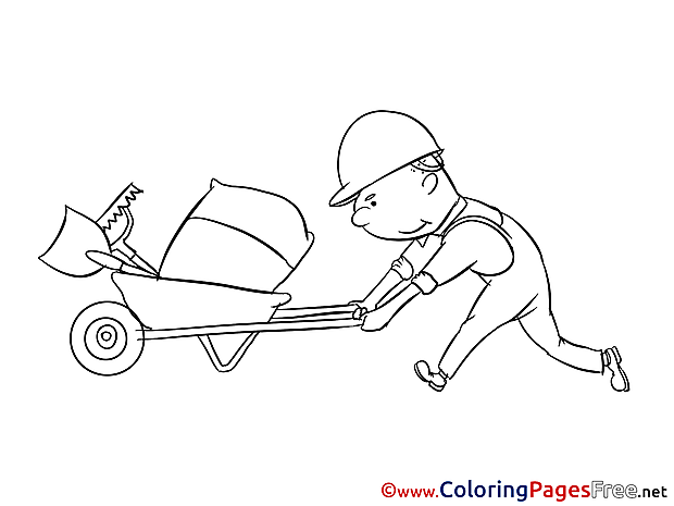 Construction Worker Colouring Sheet download free