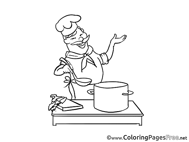 Cook printable Coloring Pages for free