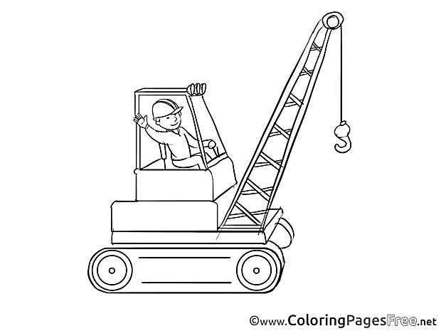Crane Operator Kids free Coloring Page