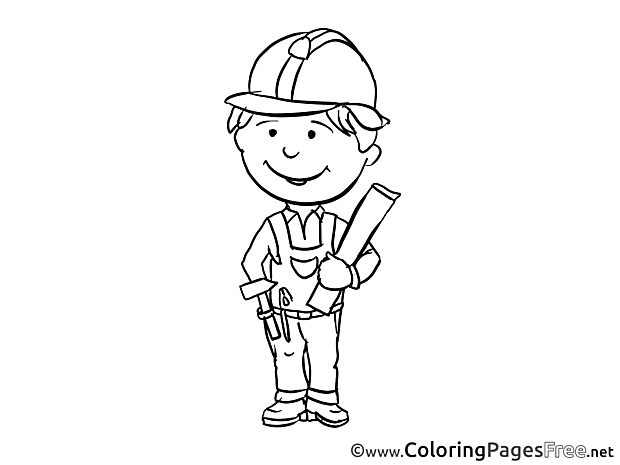 Engineer Children download Colouring Page