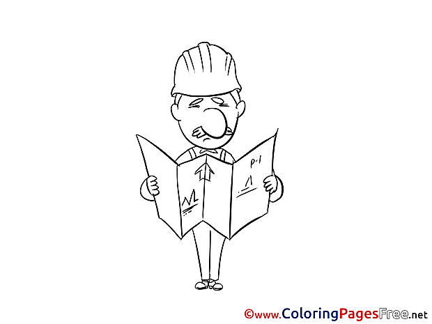 Engineer for Kids printable Colouring Page