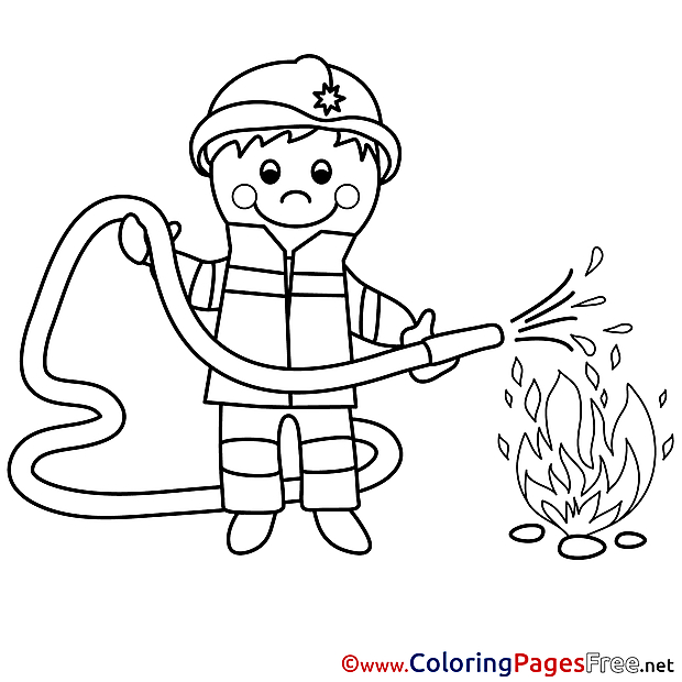 Fire Fighter Colouring Page printable free