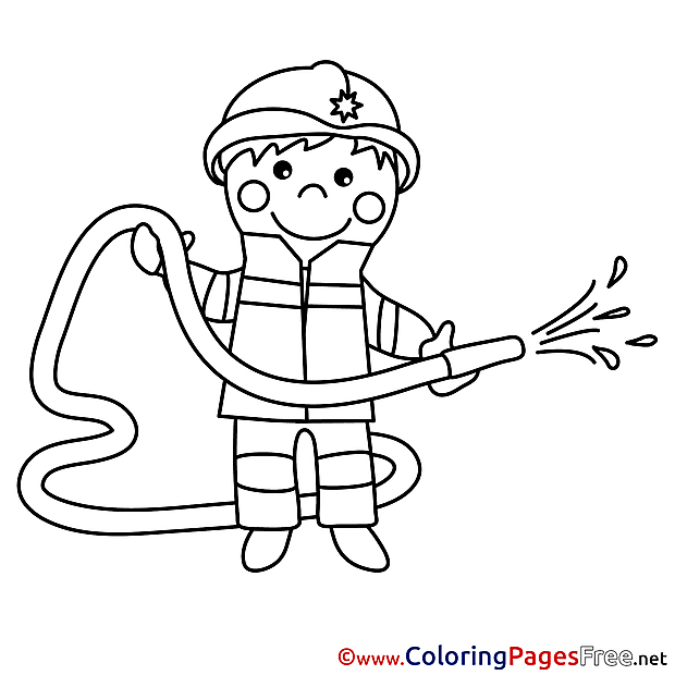 Firefighter Colouring Page printable free