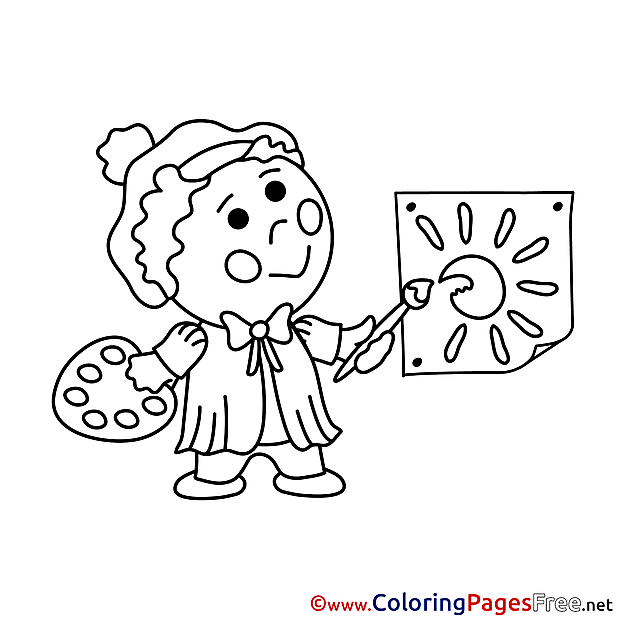 For free Artist Coloring Pages download