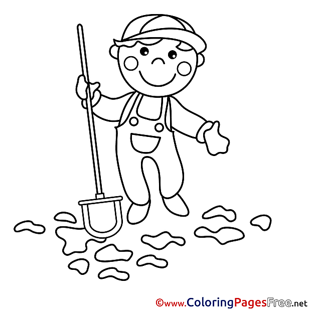 Gardener Children download Colouring Page