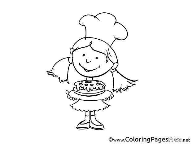 Girl cooks cake download Colouring Sheet free